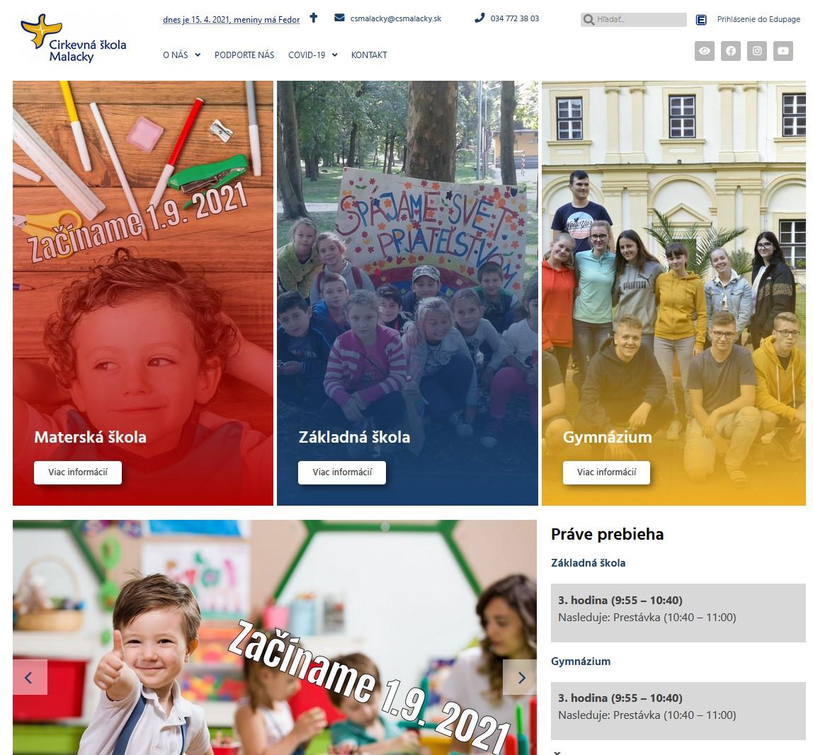 Webstránka pre 4 organizačné zložky školy
